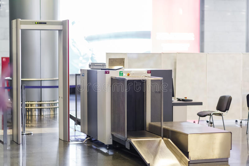 Airport security check point with metal detector stock photography