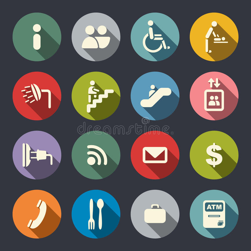 Airport services flat icons royalty free illustration