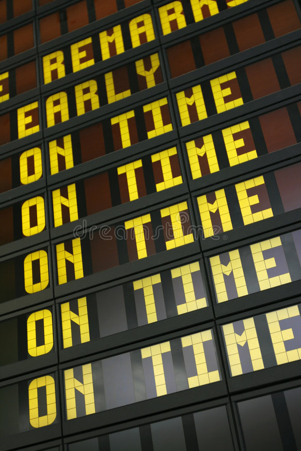 Airport sign. Airport board showing arrivals and departures on time