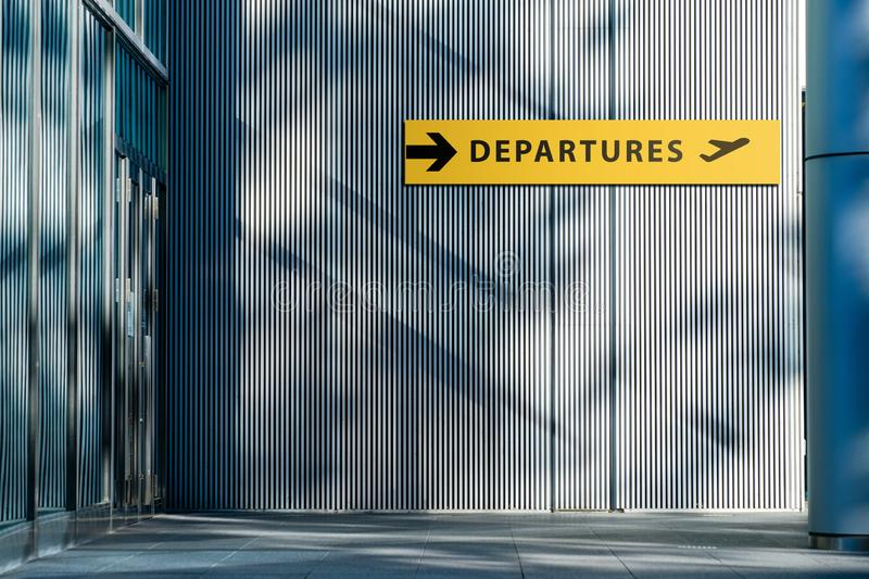 Airport Sign for Departures Terminal Directory at Outside the Building. Travel and Transportation. Concept royalty free stock photo