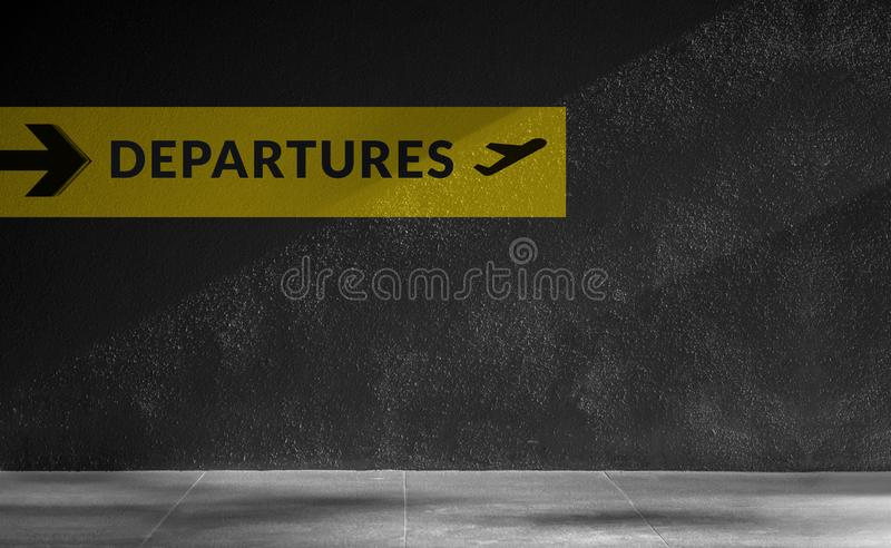 Airport Sign for Departures Terminal Directory at Outside the Building. Travel and Transportation. Concept stock photography