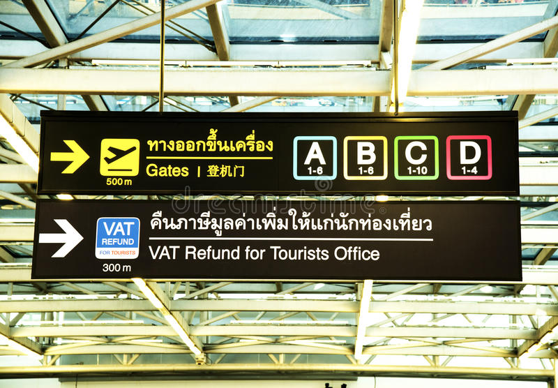 Airport signage in Thai stock images