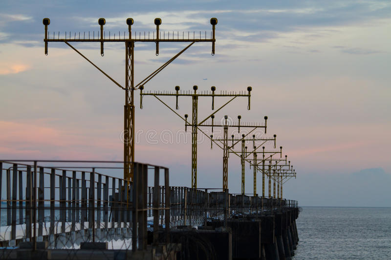 Download Airport Signal Lights On The Sea Stock Photo - Image of light, colors: 29580556