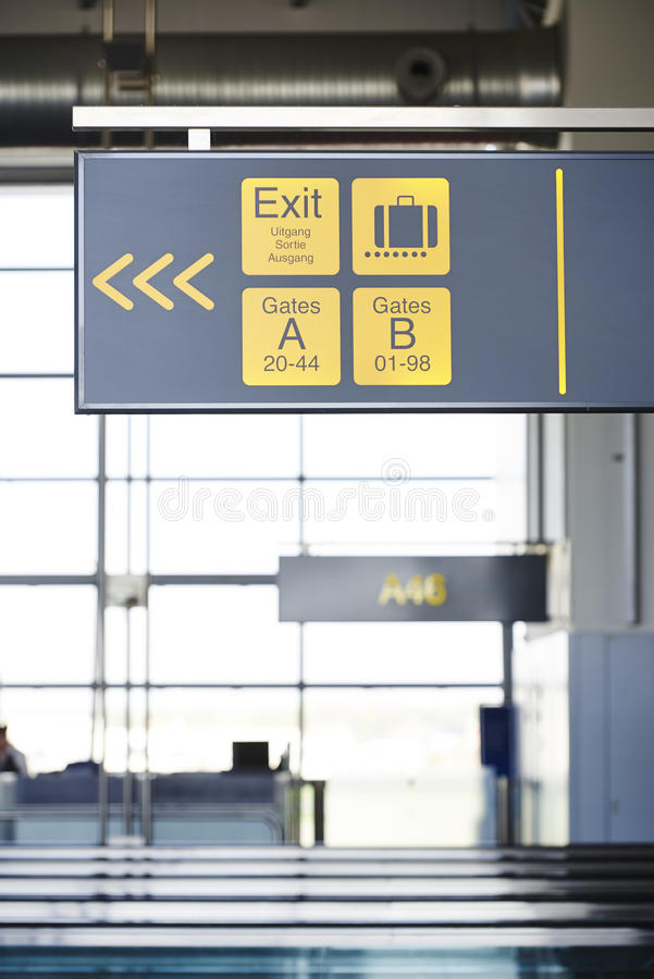 Airport signalisation stock photography