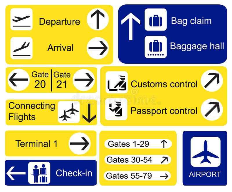 Airport signs. A selection of Airport signs stock illustration