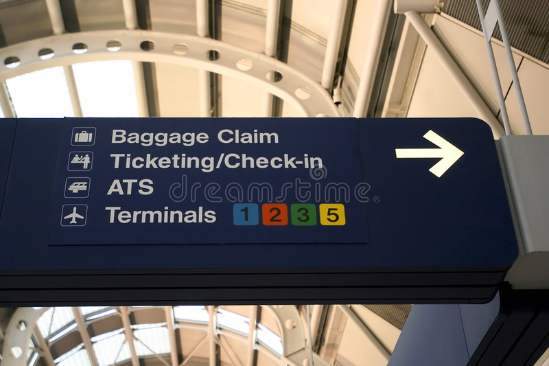 Airport signs. Chicago O'Hare International Airport stock images