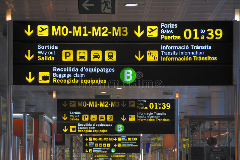 Airport signs at Barcelona. Spain stock photo