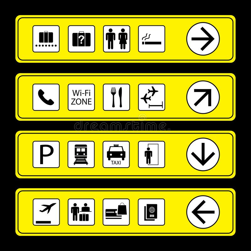 Airport Signs with icons vector illustration
