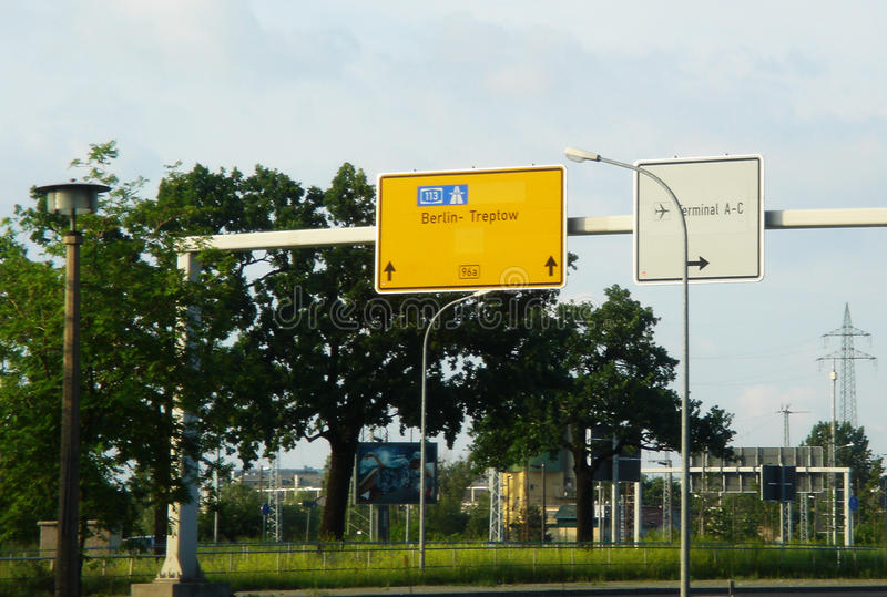 Airport signs. Street signs near Berlin`s airport stock photography