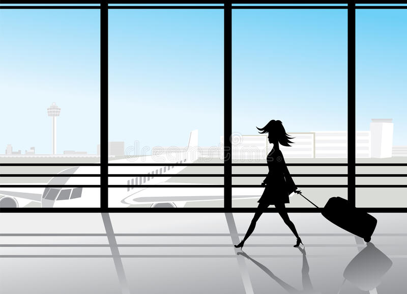 Airport silhouettes stock illustration