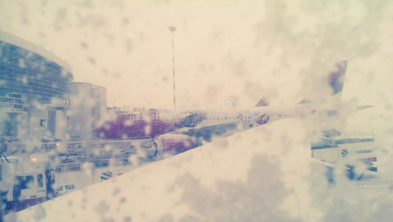 Airport in a snow storm stock photography