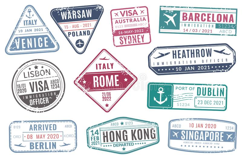 Airport stamps. Vintage travel passport visa immigration arrived stamp with grunge texture. Isolated vector set royalty free illustration