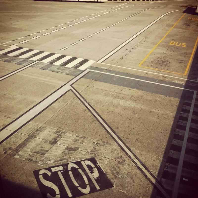 Airport Street signs. Viewed from above stock photo