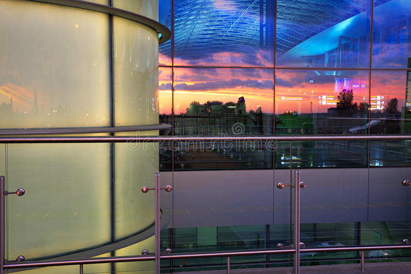 Download Airport And Sunset Sky Reflected In Windows Stock Image - Image of city, interior: 42260751