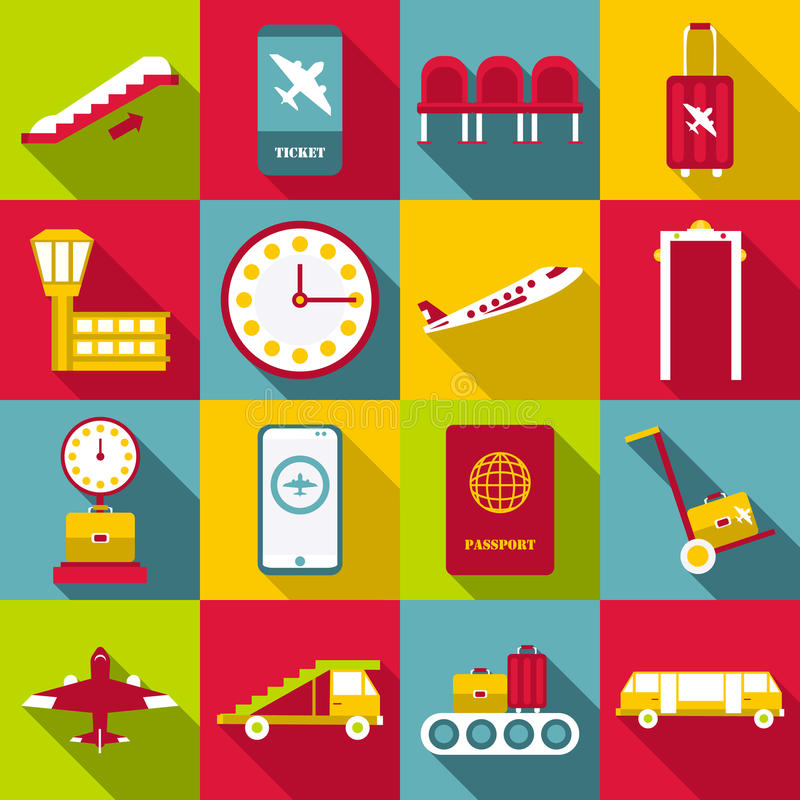 Airport symbols icons set, flat style. Airport symbols icons set. Flat illustration of 16 airport symbols vector icons for web vector illustration