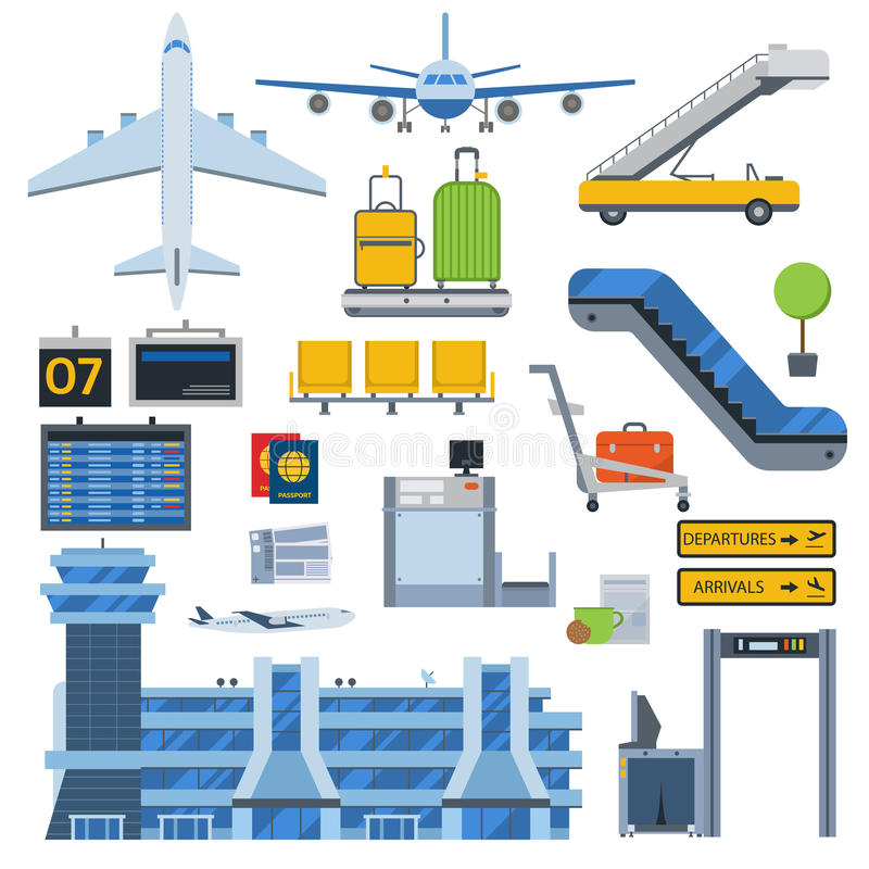 Airport symbols vector set. Nice vector concept layout on airport. Travel by airways airport symbols. Airport terminal with control tower, airplanes, runway and stock illustration