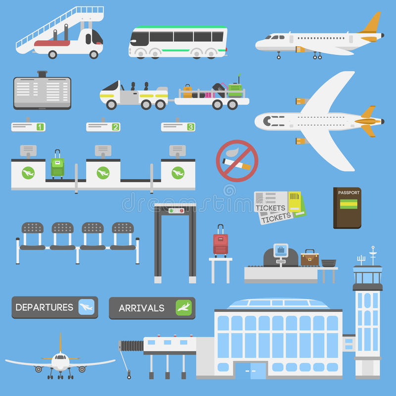 Airport symbols vector set. Plane airport symbols flat design illustration icons objects. Station concept airport symbols departure luggage plane. Airport royalty free illustration