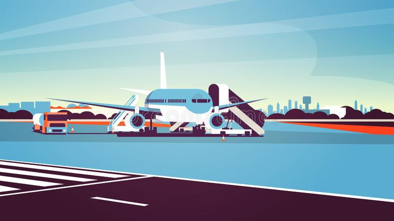 Airport terminal aircraft flying plane taking off waiting to board passengers cityscape background flat horizontal. Vector illustration royalty free illustration