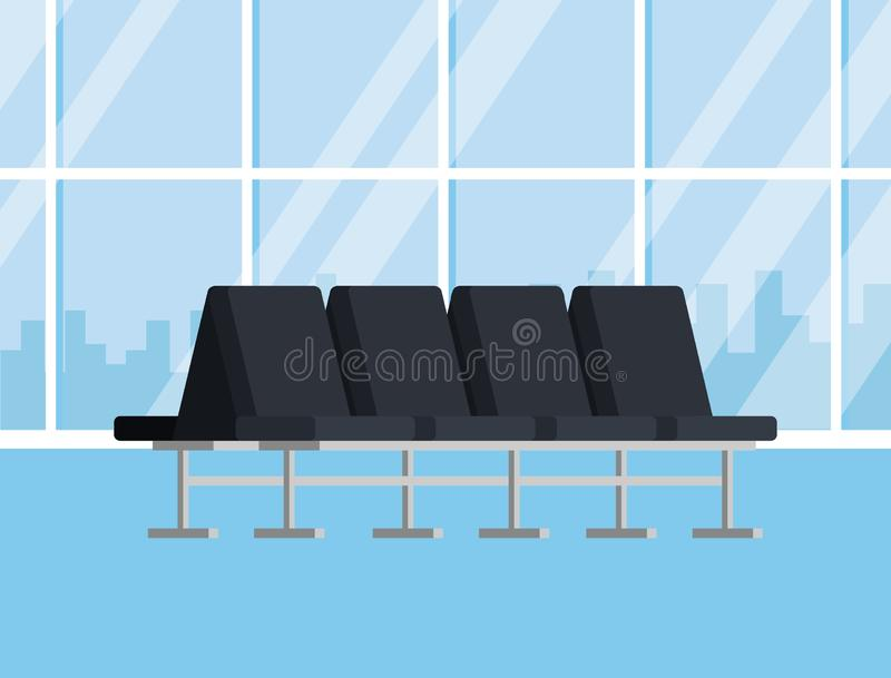 Airport terminal bench design stock illustration