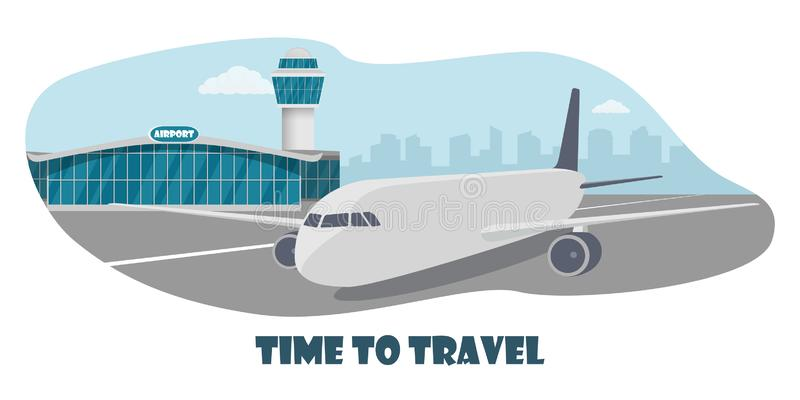 Airport terminal building, control tower and big aircraft on runway. City building silhouettes on background. Time to travel. stock illustration