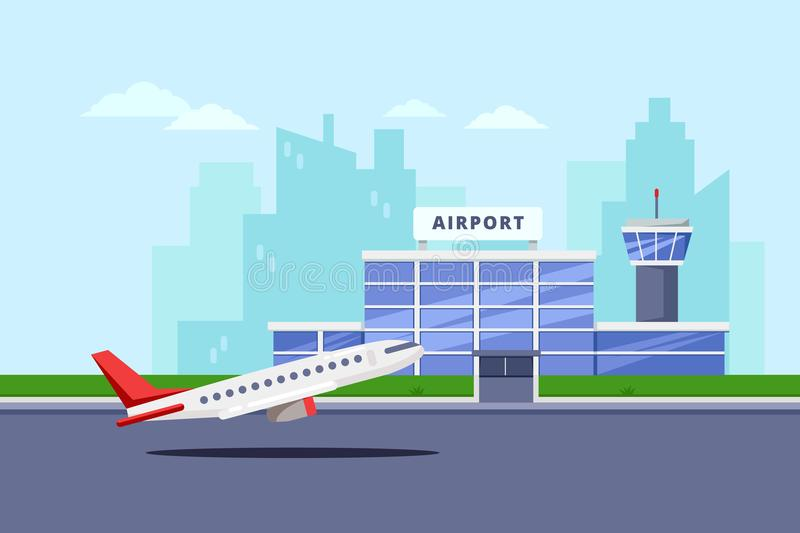 Airport terminal building and taking off aircraft, vector flat illustration. Air travel background and design elements royalty free illustration