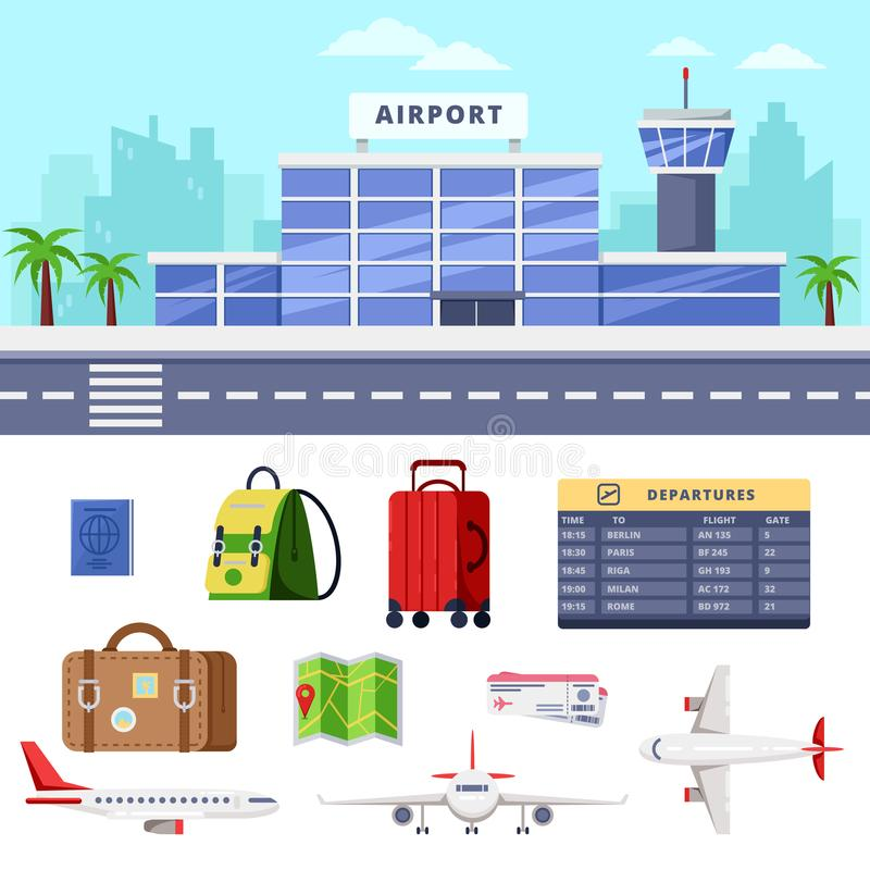 Airport terminal building, vector flat illustration. Air travel design elements. Airplane and luggage icons stock illustration