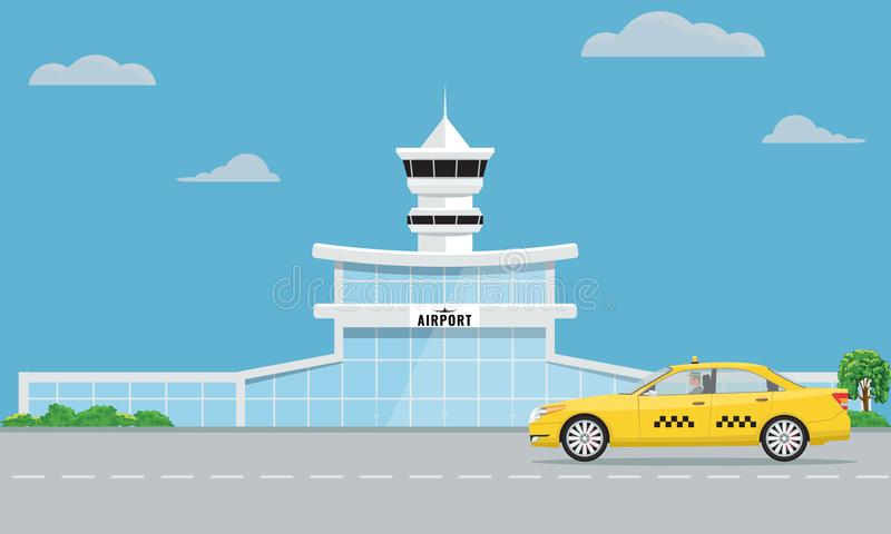 Airport terminal building and yellow taxi. Urban background flat and solid color design. vector illustration