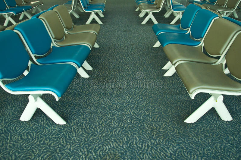 Airport Terminal. Chair in Waiting Lounge stock photo