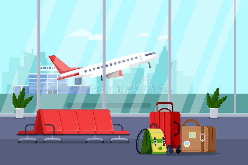 Airport terminal interior, vector illustration. Empty waiting lounge or departure hall with red chairs and luggage bags. Airport terminal interior, vector flat stock illustration