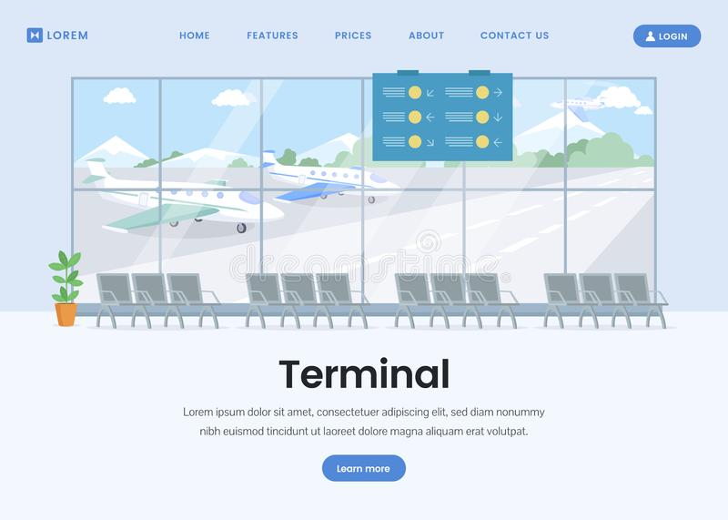 Airport terminal landing page flat template vector illustration