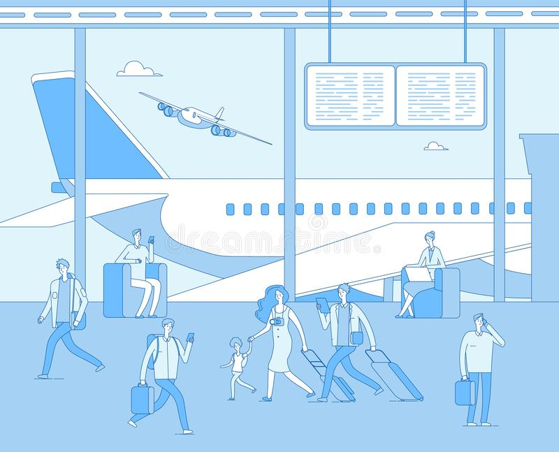 Airport terminal. People inside airfield airport. Man woman passenger in comfort lounges. Departure plane scoreboard. Vector concept woman and man in airport royalty free illustration