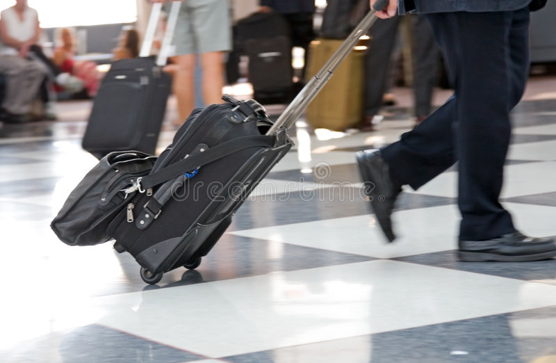 Airport Terminal & Traveler stock image