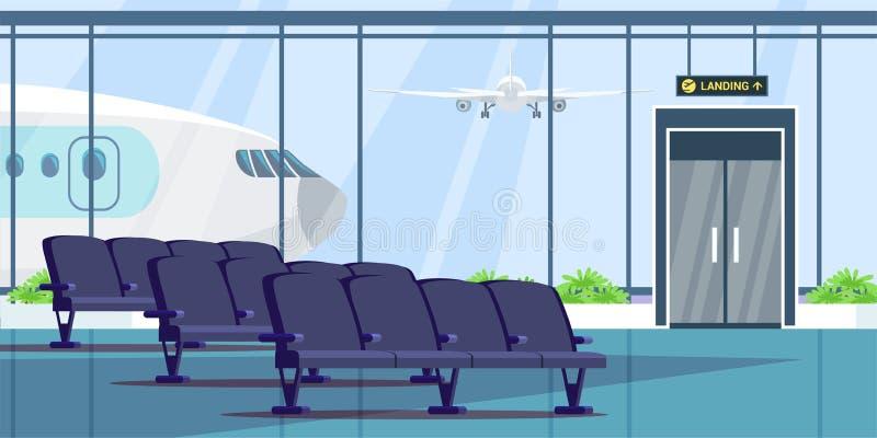 Airport terminal waiting room flat illustration. Vector design element. Airport terminal waiting room flat illustration. Wait hall interior color drawing royalty free illustration