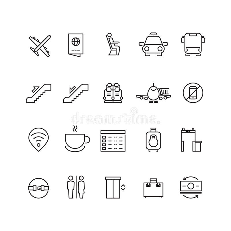 Airport thin line vector icons vector illustration