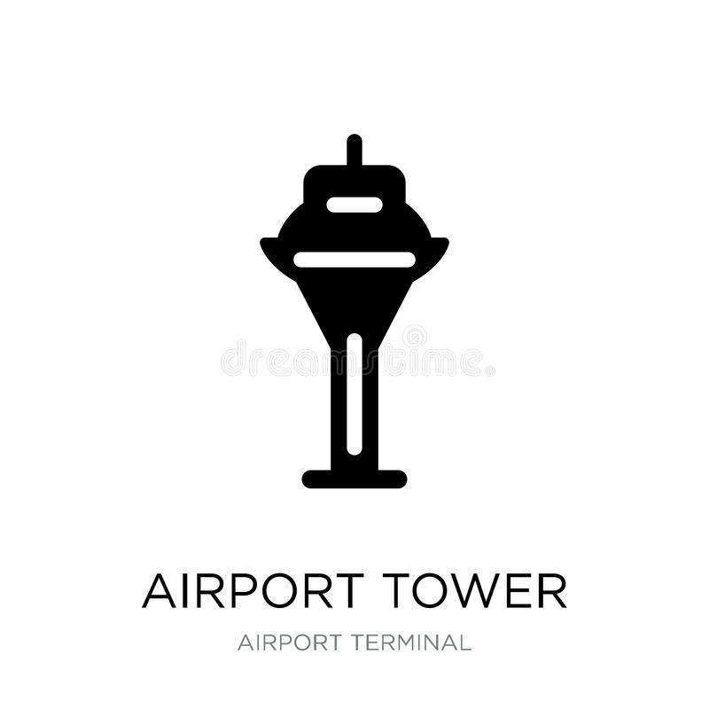 Airport tower icon in trendy design style. airport tower icon isolated on white background. airport tower vector icon simple and. Modern flat symbol for web royalty free illustration