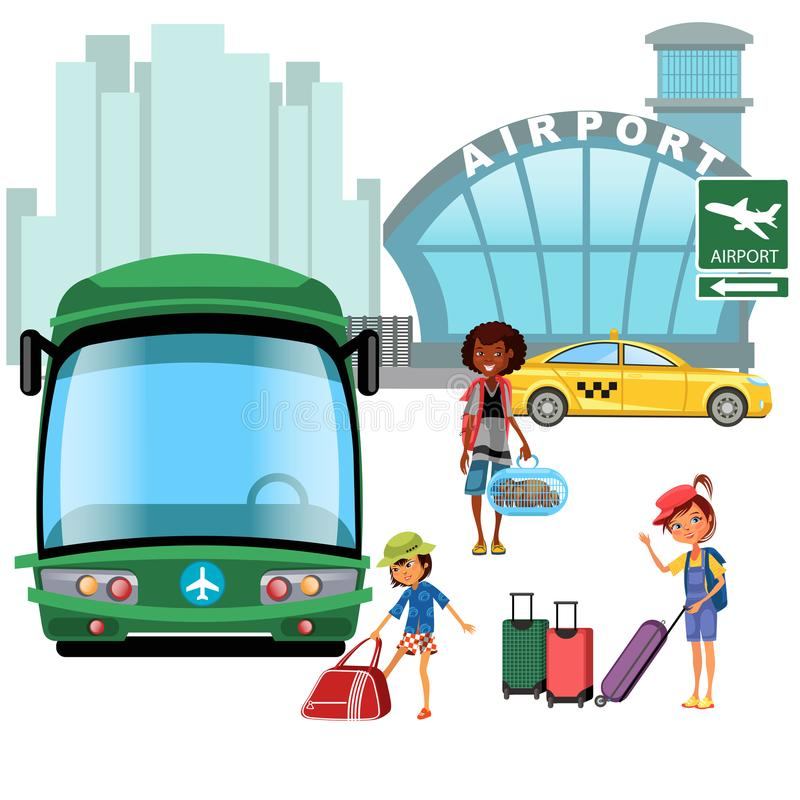 Airport Transfer, Public Transport Like Car And Bus, Happy
