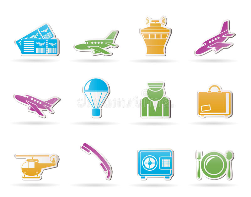 Download Airport and travel icons stock vector. Image of custom - 20675252