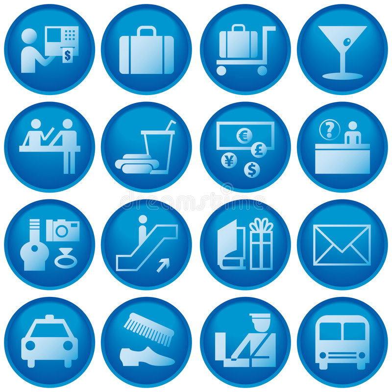 Airport / Travel Icons. Blue Button Airport and Travel Icons stock illustration