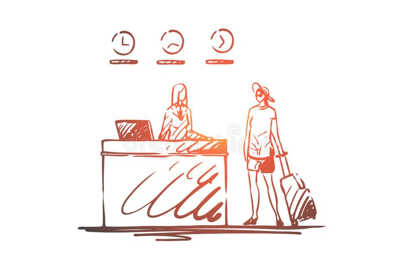 Airport, travel, passenger, luggage, registration concept. Hand drawn isolated vector. stock illustration