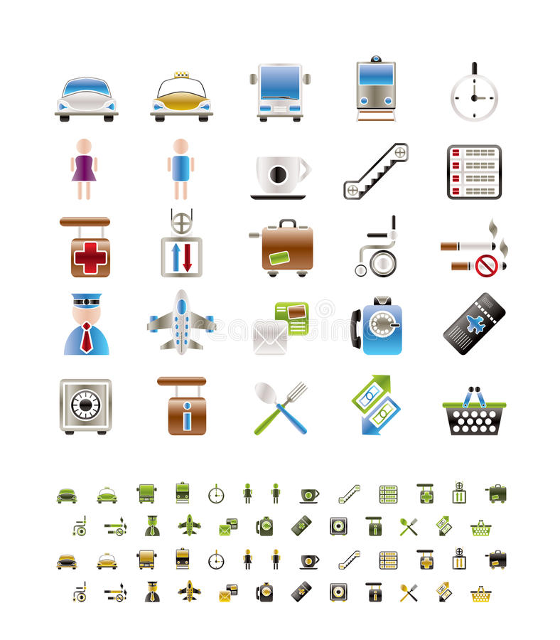Download Airport, Travel And Transportation Icons Royalty Free Stock Photography - Image: 13066637
