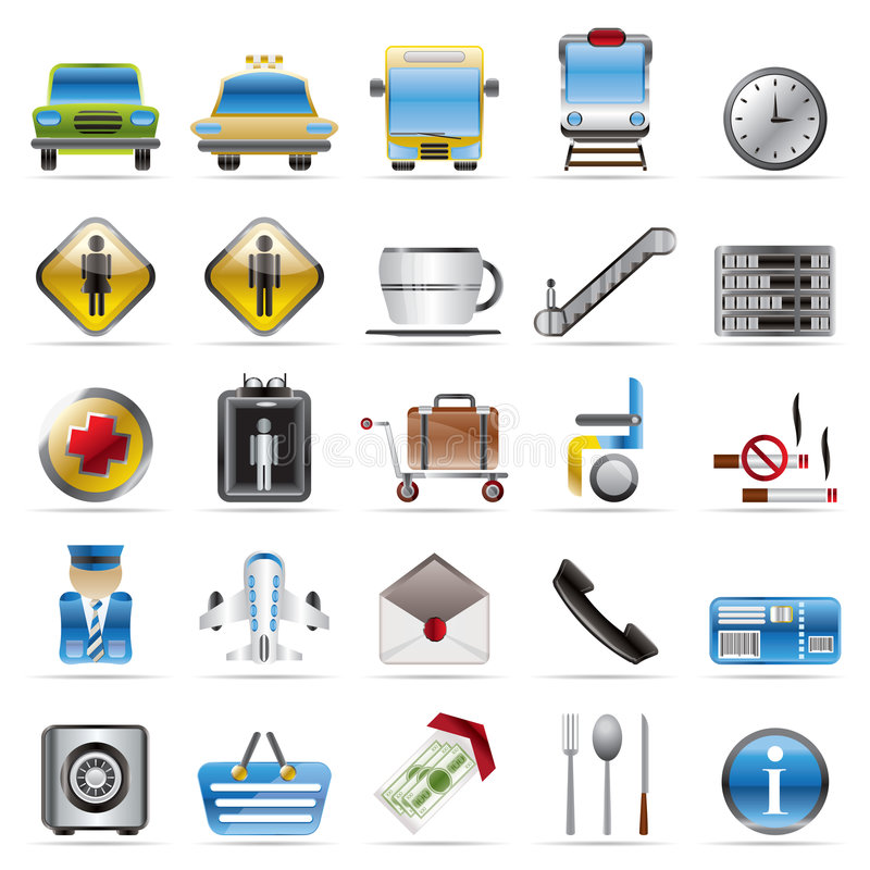 Airport, Travel And Transportation Icons Royalty Free Stock Image