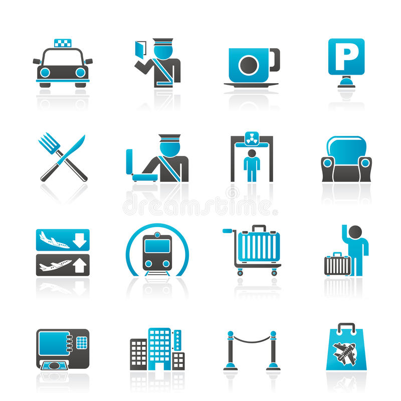 Airport, travel and transportation icons. Vector icon set 1 vector illustration