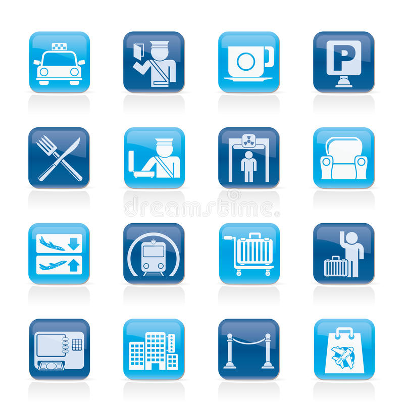 Download Airport, Travel And Transportation Icons Stock Vector - Image: 30474958