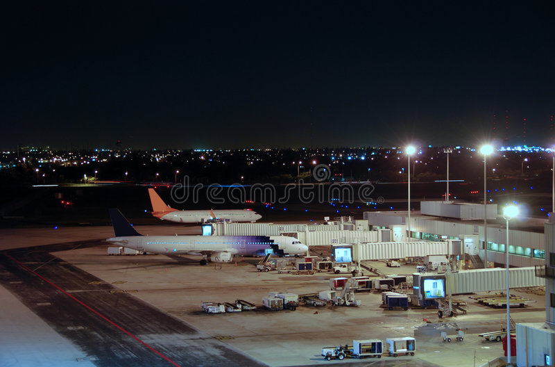 Airport view at night stock photos