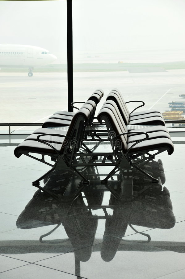 Airport waiting area. Beijing, china stock image