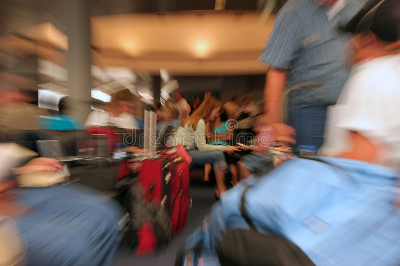 Airport waiting area. Circular blur done with zoom lens stock photos