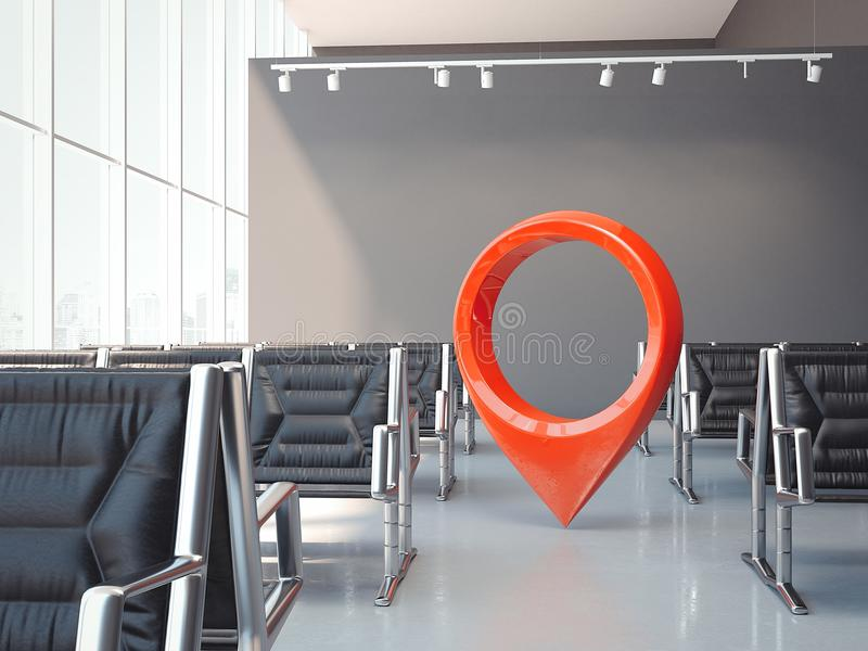 Airport waiting hall with dark chairs and red geotag or map pin. 3d rendering. Airport waiting hall with dark chairs, large windows, spotlights on the ceiling vector illustration