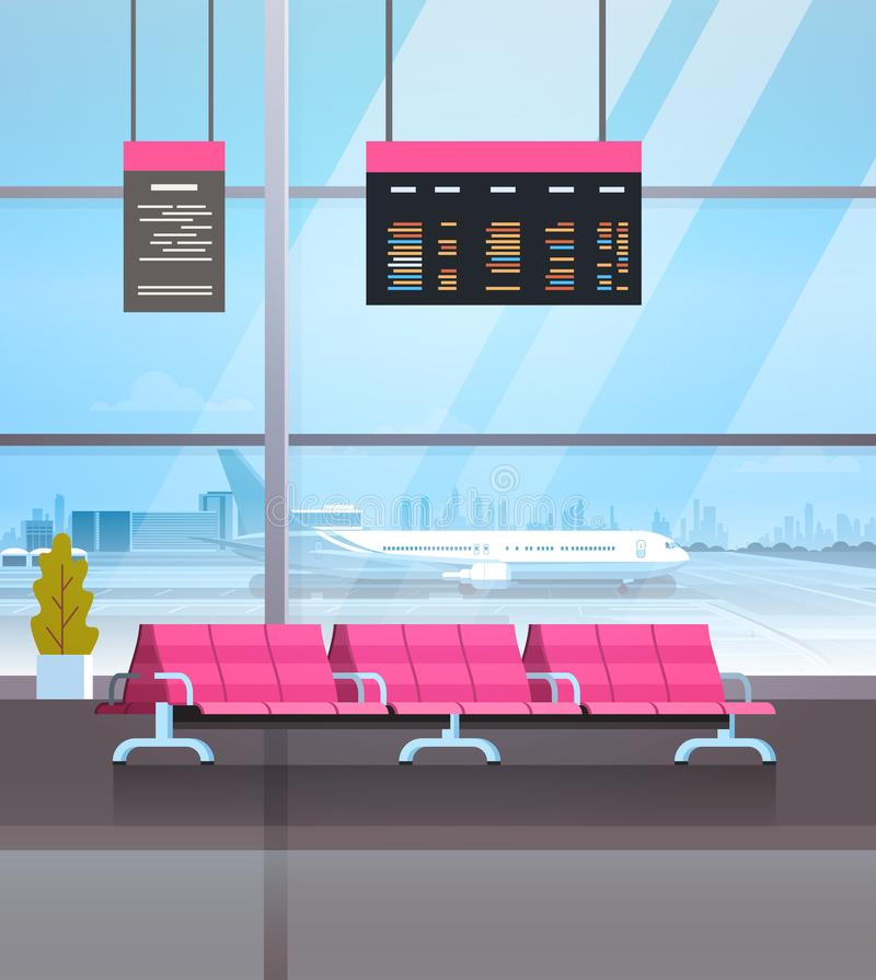 Airport Waiting Hall Departure Lounge Terminal Interior Check In. Flat Vector Illustration stock illustration