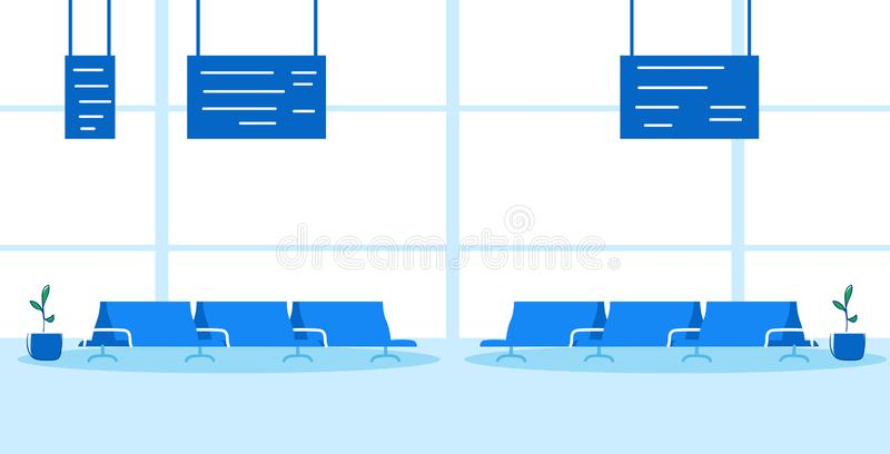 Airport waiting hall departure terminal interior empty no people sketch doodle hand drawn horizontal. Vector illustration stock illustration