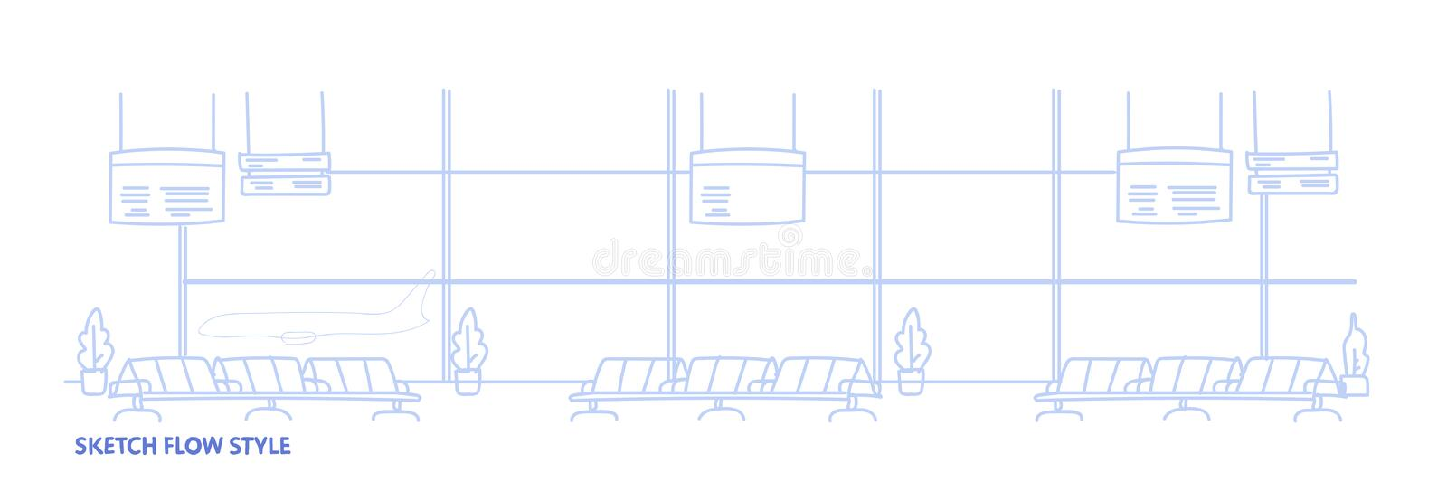 Airport waiting hall departure terminal interior empty no people sketch flow style horizontal banner. Vector illustration stock illustration